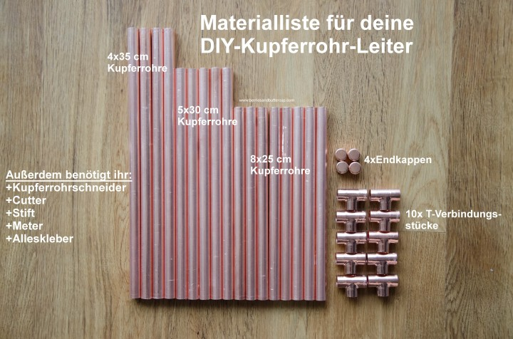 DIY Kupferrohr Leiter Anleitung Copper ladder Do it yourself (13)_Materialliste