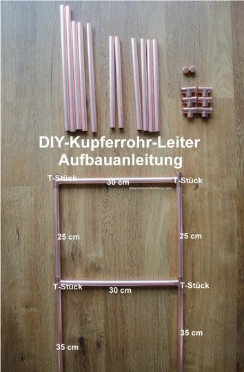 DIY Kupferrohr Leiter Anleitung Copper ladder Do it yourself (16) Materialliste